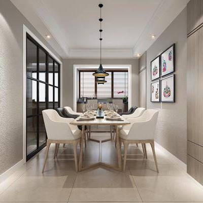 现代餐厅, 餐厅, 现代, 餐桌椅, 椅子, 吊灯, 装饰画