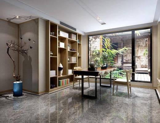 书房, 书桌, 单人椅, 干树枝, 书柜, 书籍, 摆件, 装饰品, 陈设品, 新中式