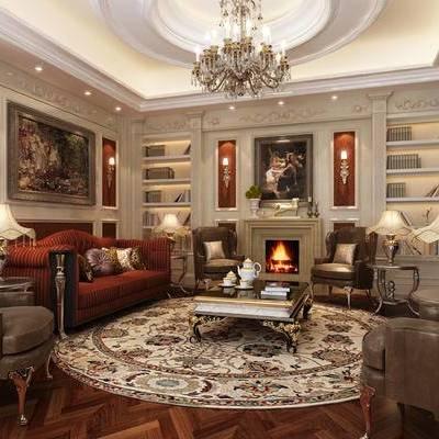 会客厅, 会客区, 客厅, 沙发组合, 欧式, 多人沙发, 单人沙发, 吊灯, 台灯, 茶几, 壁炉