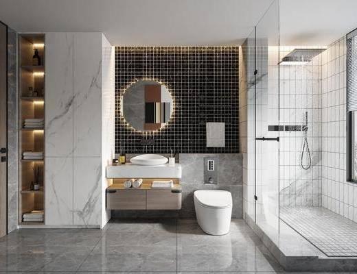 现代, 卫生间, 洗手台, 镜子