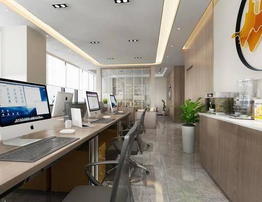 办公室, 电脑桌, 边柜, 墙饰, 植物