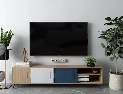 盆栽, 电视柜, 摆件组合, 盆栽植物
