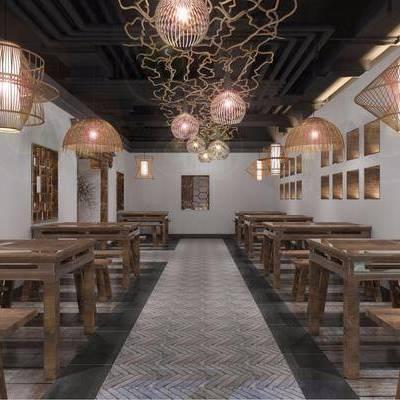 餐厅, 火锅店, 现代, 餐桌椅, 桌椅组合, 新中式, 中式