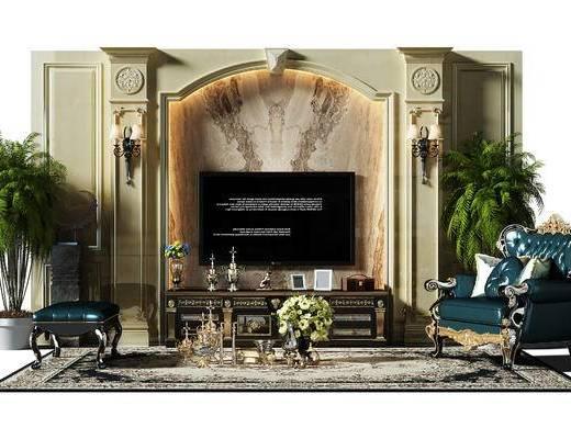 背景墙, 电视墙, 电视背景墙, 沙发椅, 椅子, 沙发凳, 电视柜, 地毯, 壁灯, 欧式