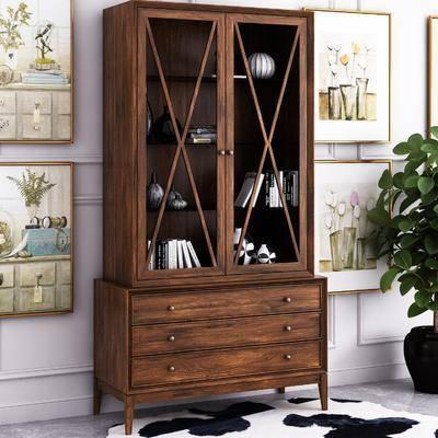书柜, 书籍, 盆栽, 绿植植物, 装饰画, 组合画, 摆件, 装饰品, 陈设品, 饰品模型, 美式