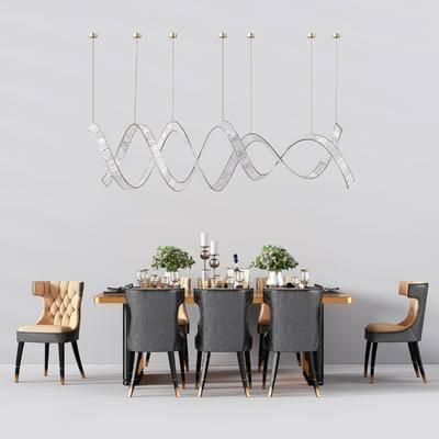 现代, 轻奢, 餐桌椅