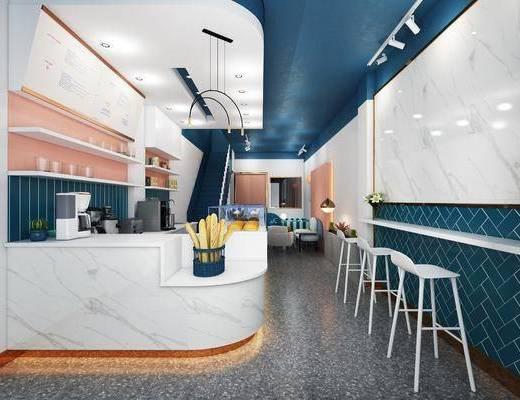 奶茶店, 北欧奶茶店, 桌椅组合, 前台, 收银台, 置物架, 吧椅, 北欧