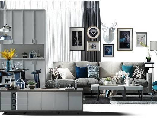 窗帘, 餐桌椅组合, 餐桌, 电视柜, 沙发椅, 装饰画, 挂画, 组合画, 鞋柜, 酒柜, 搭配软装, 现代, 沙发组合