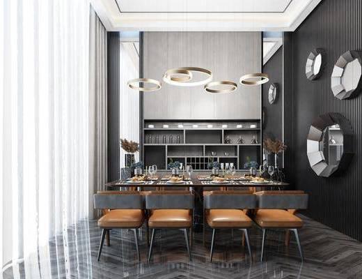 餐廳, 桌椅組合, 吊燈, 墻飾, 裝飾柜
