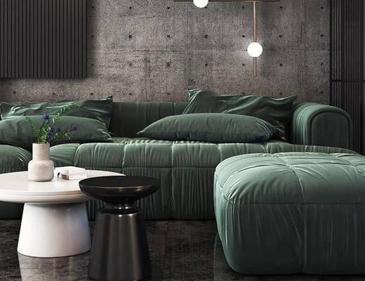 沙发组合, 茶几, 摆件组合, 吊灯, 装饰画