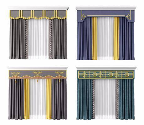 窗帘, 新中式窗帘, 布艺窗帘, 布艺, 新中式