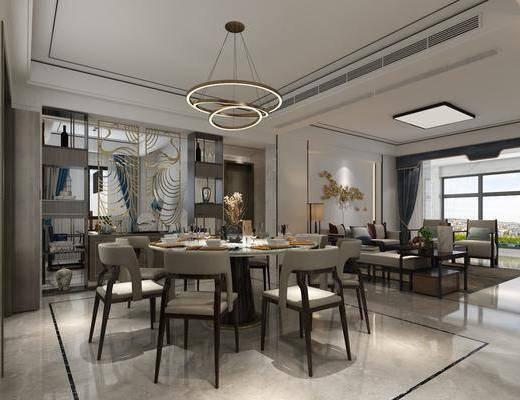 客厅, 餐厅, 餐桌椅组合, 沙发组合, 沙发茶几组合, 现代