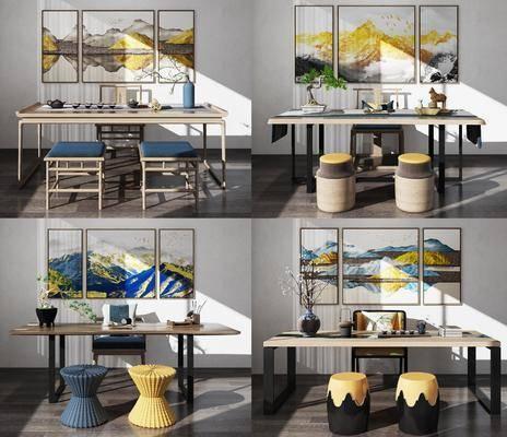 桌椅组合, 实木泡茶, 茶桌, 单人椅, 凳子, 装饰画, 挂画, 组合画, 茶具, 摆件, 装饰品, 陈设品, 盆栽, 绿植, 新中式