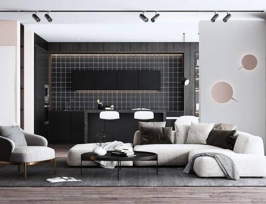 客厅, 沙发组合, 沙发茶几组合, 吧台椅组合, 射灯组合, 摆件组合, 挂画组合, 现代