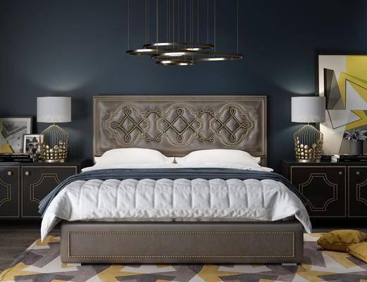 床具组合, 双人床, 床头柜, 台灯, 边柜, 装饰画, 挂画, 摆件, 装饰品, 陈设品, 现代