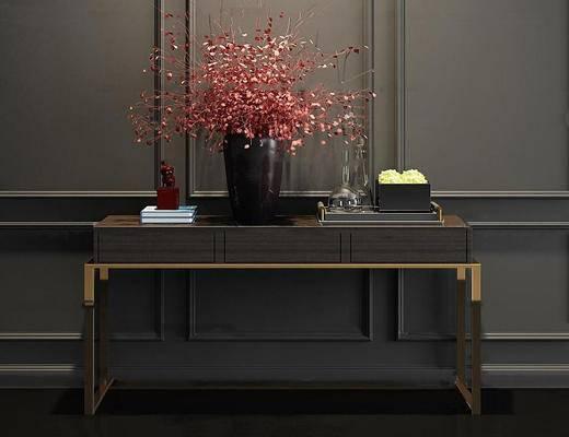 现代简约, 边柜, 花瓶, 植物, 陈设品组合, 柜台组合