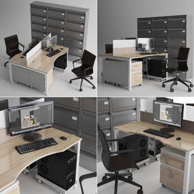 办公, 桌子, 电脑, 键盘, 鼠标, 柜子, 椅子, 办公桌, 现代