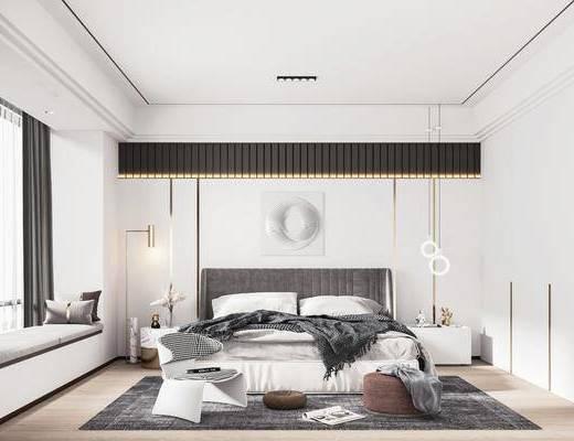 双人床, 床头柜, 吊灯, 墙饰, 衣柜, 地毯