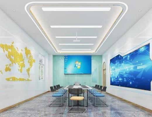 会议室, 桌椅组合, 墙饰, 投影仪