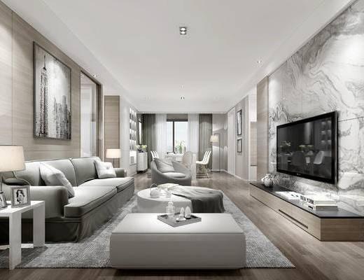 客餐厅, 现代客餐厅, 客厅, 现代客厅, 沙发组合, 布艺沙发