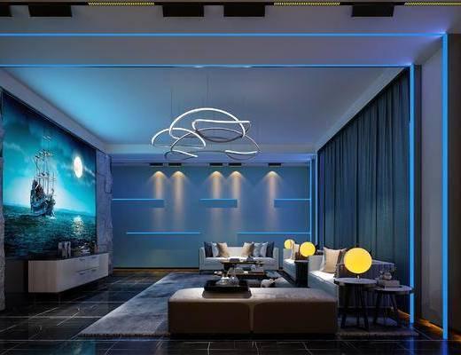 现代影音室, 现代休闲沙发, 现代投影屏幕