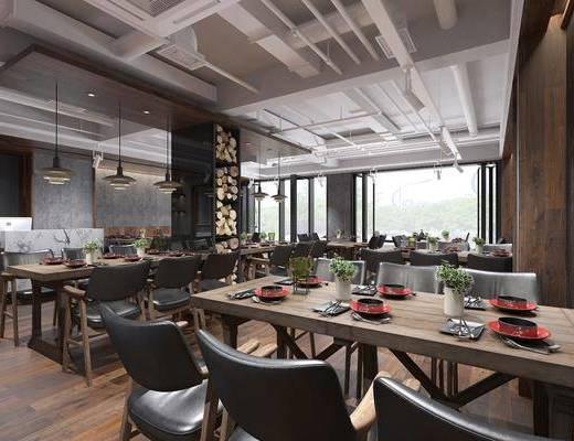 餐飲店, 餐廳, 餐桌, 餐椅, 單人椅, 餐具, 門面門頭, 樹木, 綠植植物, 吊燈, 現代