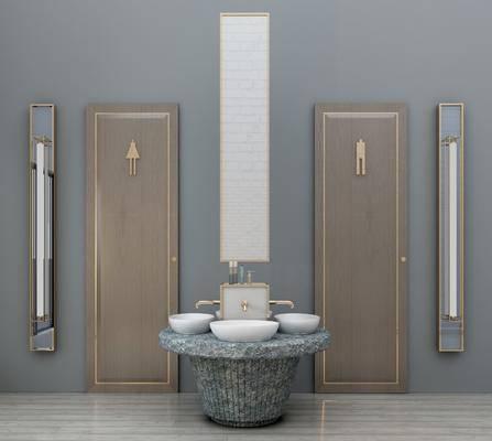 ?#35789;?#21488;, 多人?#35789;?#21488;, 卫生间门, 装饰镜, 现代