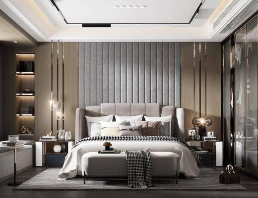 双人床, 床头柜, 衣柜, 床尾踏