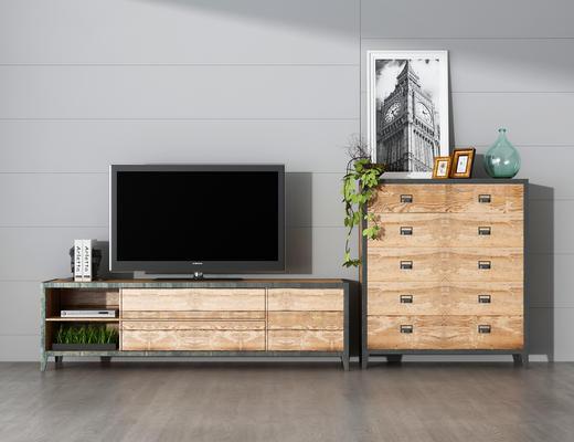 电视柜, 电视机, 装饰画, 边柜, 装饰品