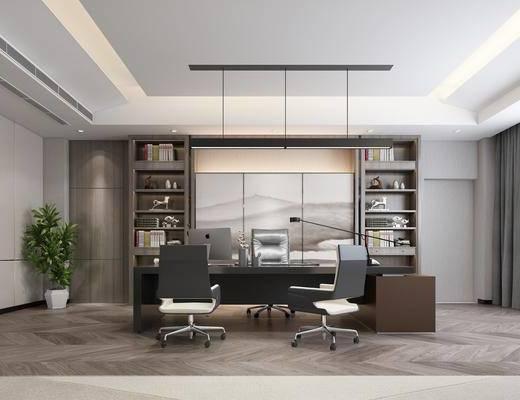 办公室, 桌椅组合, 背景墙, 书柜, 吊灯, 置物柜