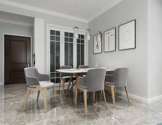 现代餐厅, 北欧餐厅, 餐厅, 餐桌椅, 椅子, 单椅