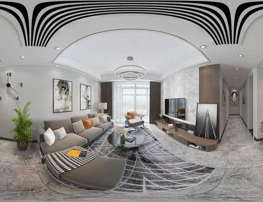 客厅, 餐厅, 家装全景, 沙发组合, 沙发茶几组合, 餐桌椅组合, 挂画组合, 现代