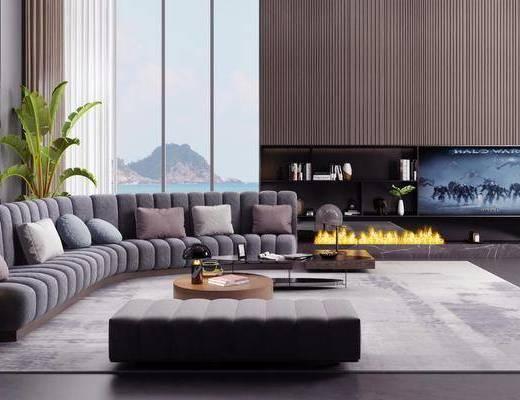 现代, 影音室, 多人沙发, 异形沙发, 茶几, 沙发凳
