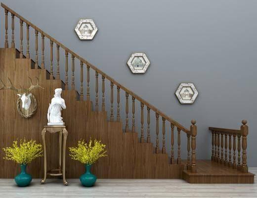 楼梯扶手, 栏杆, ?#30340;?#27004;梯, 雕塑组合, 花瓶, 中式