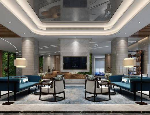多人沙发, 单人沙发, 落地灯, 装饰架, 茶几, 摆件, 新中式, 造型吧台, 博物价
