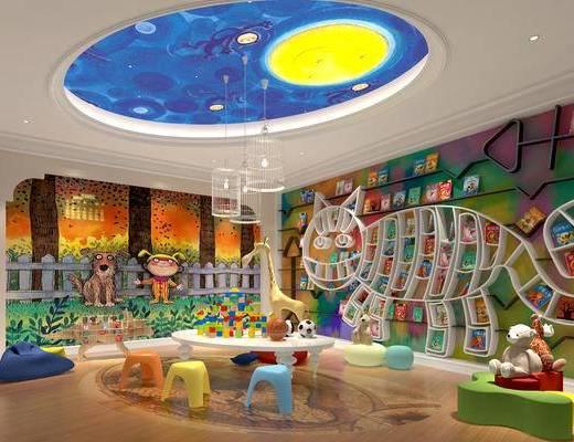 幼儿园, 幼儿园教室, 幼儿园图书室, 幼儿园手工室, 托儿所, 儿童桌椅, 儿童读物