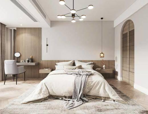 双人床, 吊灯, 床头柜, 休闲沙发, 梳妆台