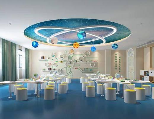 幼儿园, 科技馆, 凳子, 桌子, 装饰柜, 摆件, 置物架, 书籍, 装饰品, 陈设品, 现代
