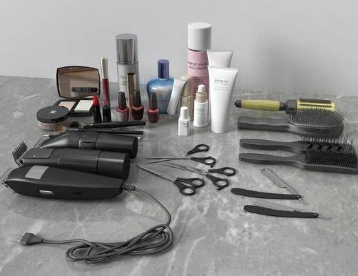 电推梳子, 梳子剪刀, 化妆品组合, 现代