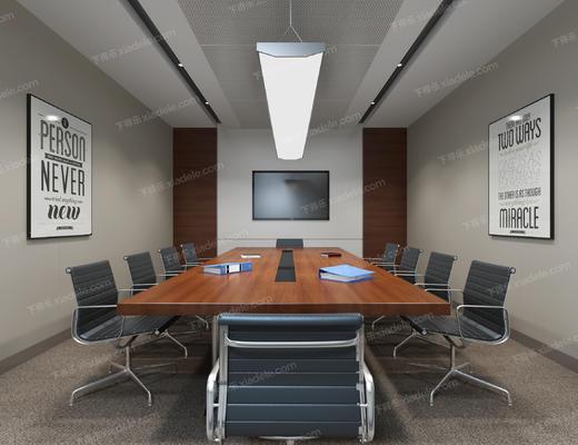 会议室, 办公椅, 办公桌, 装饰画, 吊灯, 椅子