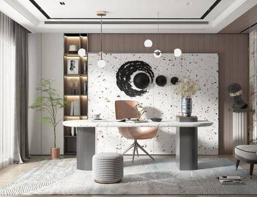 书桌, 书房, 吊灯, 墙饰, 植物