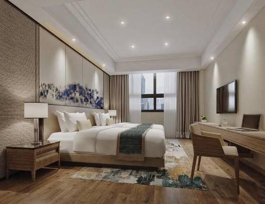 现代, 客房, 酒店, 床头柜, 新中式, 台灯, 书桌椅, 椅子