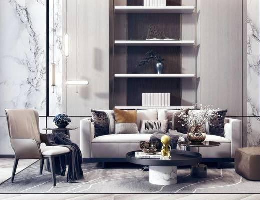 沙发组合, 抱枕, 茶几, 摆件组合, 单椅, 吊灯