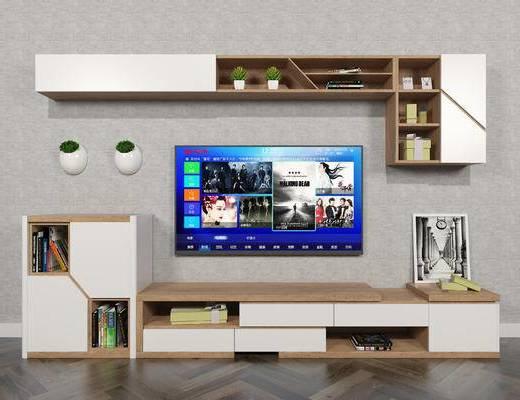 北欧, 现代, 简约, 电视柜, 组合