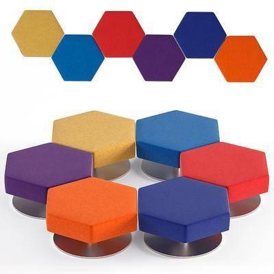 现代多边形创意座凳, 现代, 凳子, 多边形凳子
