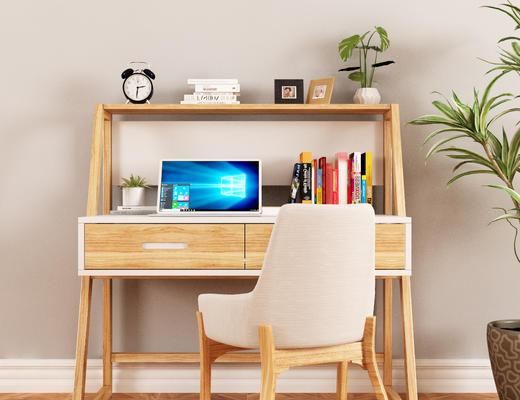 书桌椅, 椅子, 单椅, 书籍, 陈设品, 摆件