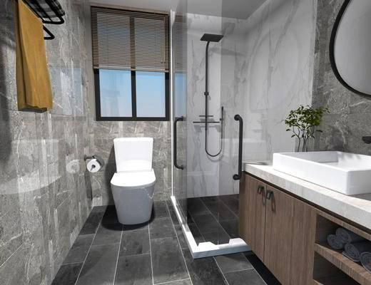 卫浴, 洗浴组合, 洗手盆, 壁镜, 马桶