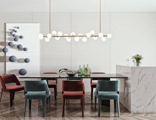 餐桌, 餐椅, 餐厅吊灯, 墙饰, 背景墙, 饰品摆件