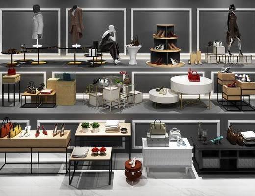 现代, 服装, 鞋子, 鞋架, 包, 桌台组合