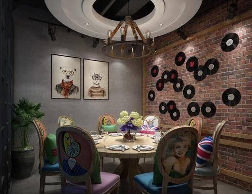 包厢, 餐桌, 餐椅, 圆桌, 单人椅, 餐具, 墙饰, 动物画, 装饰画, 挂画, 盆栽, 绿植植物, 吊灯, 工业风
